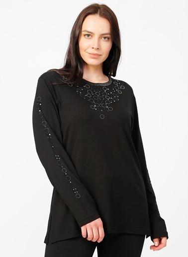 Papilla Papilla Siyah Taş Baskılı Bluz Siyah